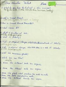 Sex Education Pre-Test - pg1rz