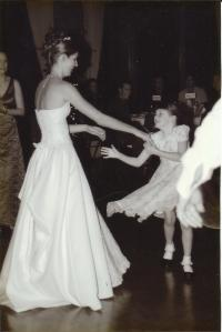 Rory dancing with her Godmother, Mia - 7 or 8-yrs old