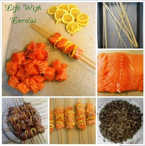 Grilled Salmon Kabob Prep