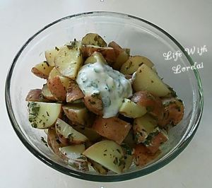 Sour Cream, Cilantro and Parsley Potatoes on the Grill
