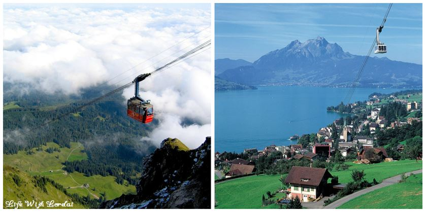 Aerial Gondola Mount Pilatus, Switzerland Collage