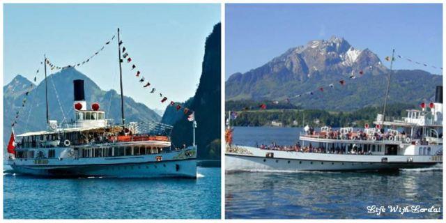 Boating on Lake Lucerne, Switzerland Collage
