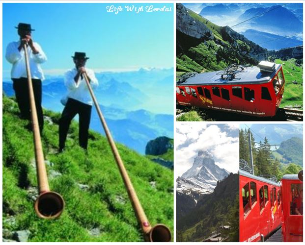 Cogwheel Railroad Mount Pilatus, Switzerland Collage