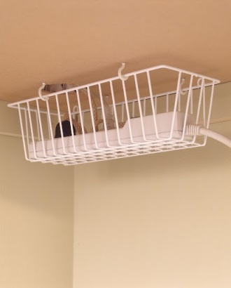 Keep the Cords Off the Floor with a Wire Basket - Organize | Life With Lorelai