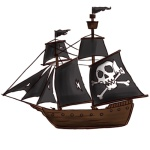 Pirate Ship with jolly Roger