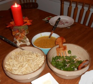 Pasta, Pumpkin and Sausage Sauce, Spinach-Pear-Red Onion Salad | Life With Lorelai