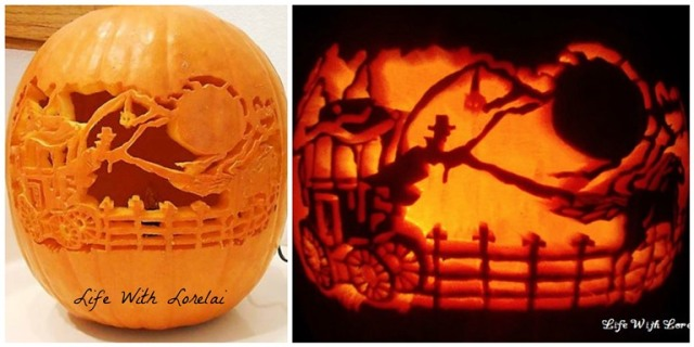 Frightful Carriage Ride Pumpkin Carving Comparison | Life With Lorelai