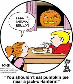 You Shouldn't Eat Pumpkin Pie Near A Jack-o-lantern - Family Circus | Life With Lorelai