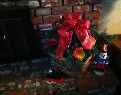 Firewood Basket with Christmas Greens and Large Bow - Life With Lorelai